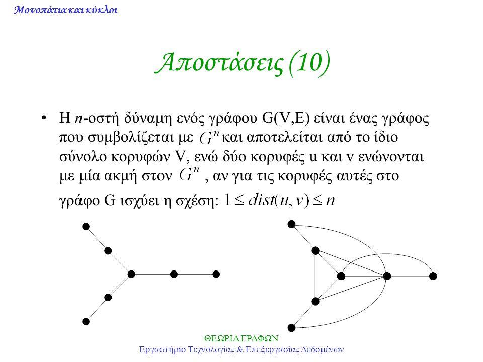 Μονοπάτια και κύκλοι ΘΕΩΡΙΑ ΓΡΑΦΩΝ Εργαστήριο Τεχνολογίας & Επεξεργασίας Δεδομένων Αποστάσεις (10) Η n-οστή δύναμη ενός γράφου G(V,E) είναι ένας γράφο
