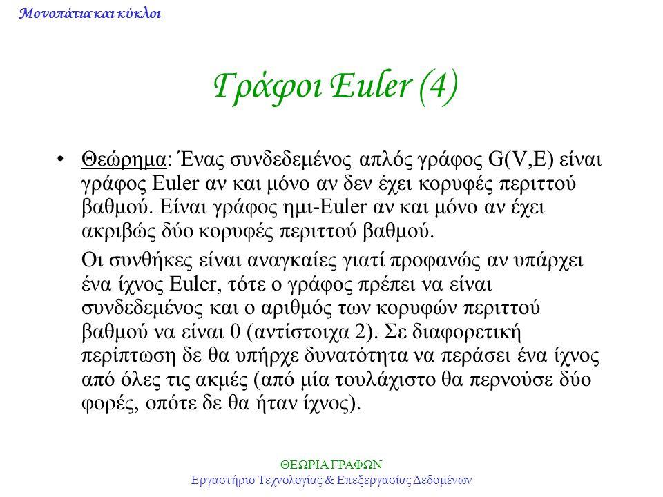 Μονοπάτια και κύκλοι ΘΕΩΡΙΑ ΓΡΑΦΩΝ Εργαστήριο Τεχνολογίας & Επεξεργασίας Δεδομένων Γράφοι Euler (4) Θεώρημα: Ένας συνδεδεμένος απλός γράφος G(V,E) είν