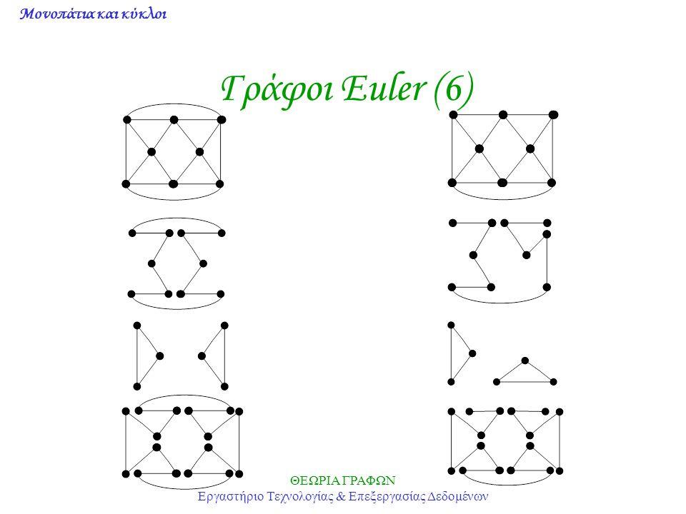 Μονοπάτια και κύκλοι ΘΕΩΡΙΑ ΓΡΑΦΩΝ Εργαστήριο Τεχνολογίας & Επεξεργασίας Δεδομένων Γράφοι Euler (6)