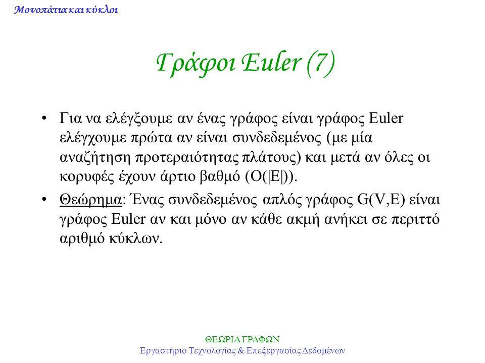Μονοπάτια και κύκλοι ΘΕΩΡΙΑ ΓΡΑΦΩΝ Εργαστήριο Τεχνολογίας & Επεξεργασίας Δεδομένων Γράφοι Euler (7) Για να ελέγξουμε αν ένας γράφος είναι γράφος Euler