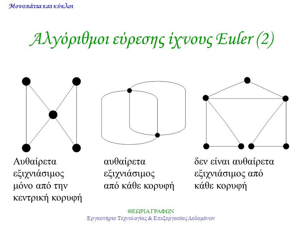 Μονοπάτια και κύκλοι ΘΕΩΡΙΑ ΓΡΑΦΩΝ Εργαστήριο Τεχνολογίας & Επεξεργασίας Δεδομένων Αλγόριθμοι εύρεσης ίχνους Euler (2) Αυθαίρετααυθαίρεταδεν είναι αυθ