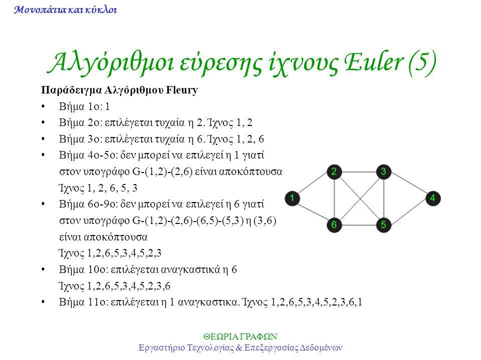 Μονοπάτια και κύκλοι ΘΕΩΡΙΑ ΓΡΑΦΩΝ Εργαστήριο Τεχνολογίας & Επεξεργασίας Δεδομένων Αλγόριθμοι εύρεσης ίχνους Euler (5) Παράδειγμα Αλγόριθμου Fleury Βή