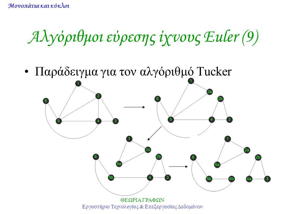 Μονοπάτια και κύκλοι ΘΕΩΡΙΑ ΓΡΑΦΩΝ Εργαστήριο Τεχνολογίας & Επεξεργασίας Δεδομένων Αλγόριθμοι εύρεσης ίχνους Euler (9) Παράδειγμα για τον αλγόριθμό Tu