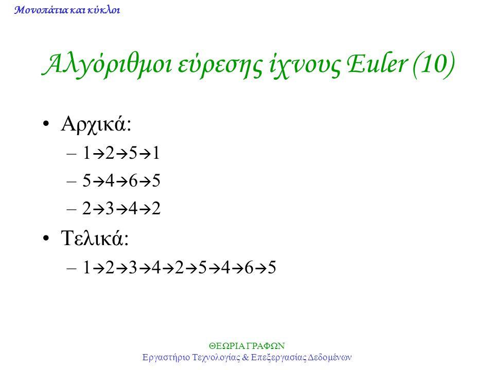Μονοπάτια και κύκλοι ΘΕΩΡΙΑ ΓΡΑΦΩΝ Εργαστήριο Τεχνολογίας & Επεξεργασίας Δεδομένων Αλγόριθμοι εύρεσης ίχνους Euler (10) Αρχικά: –1  2  5  1 –5  4