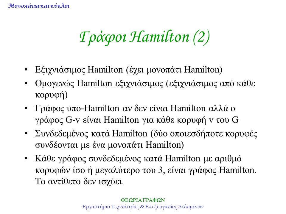 Μονοπάτια και κύκλοι ΘΕΩΡΙΑ ΓΡΑΦΩΝ Εργαστήριο Τεχνολογίας & Επεξεργασίας Δεδομένων Γράφοι Hamilton (2) Eξιχνιάσιμος Hamilton (έχει μονοπάτι Hamilton)