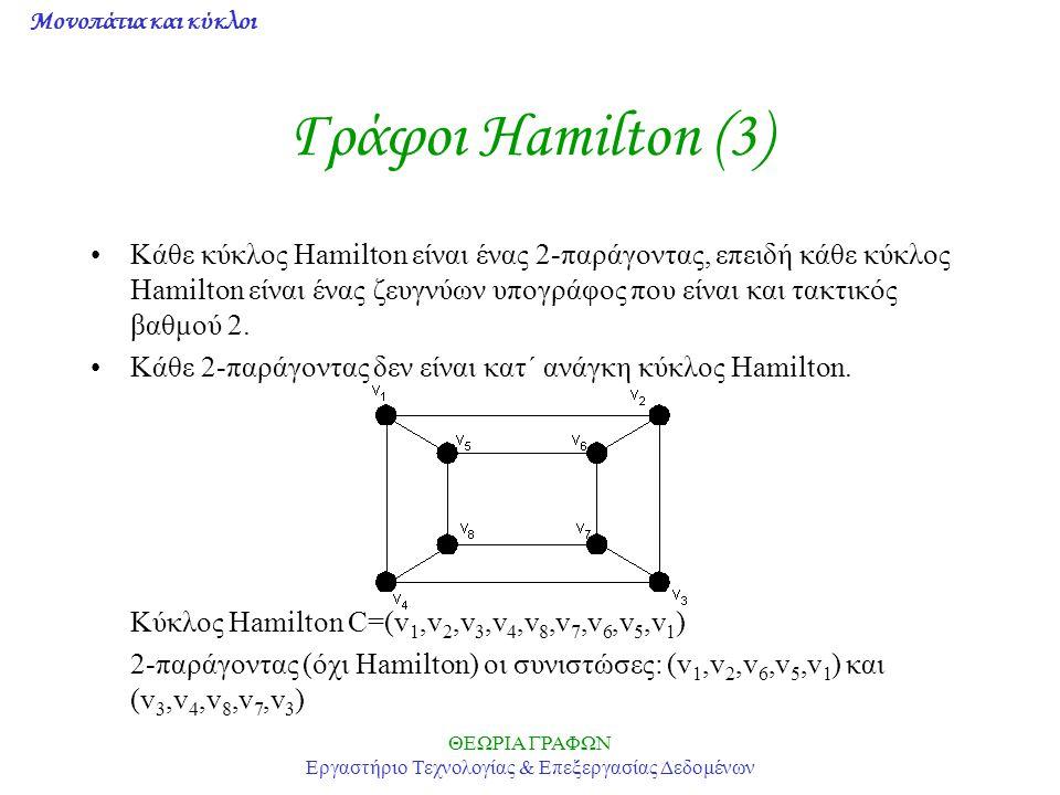 Μονοπάτια και κύκλοι ΘΕΩΡΙΑ ΓΡΑΦΩΝ Εργαστήριο Τεχνολογίας & Επεξεργασίας Δεδομένων Γράφοι Hamilton (3) Κάθε κύκλος Hamilton είναι ένας 2-παράγοντας, ε