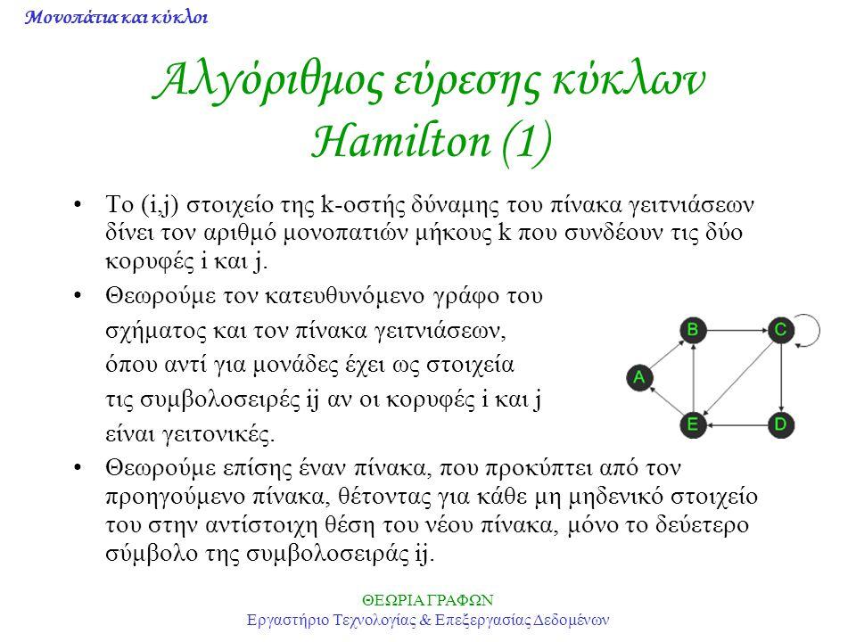 Μονοπάτια και κύκλοι ΘΕΩΡΙΑ ΓΡΑΦΩΝ Εργαστήριο Τεχνολογίας & Επεξεργασίας Δεδομένων Αλγόριθμος εύρεσης κύκλων Hamilton (1) To (i,j) στοιχείο της k-οστή
