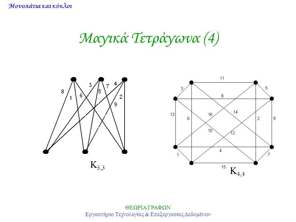 Μονοπάτια και κύκλοι ΘΕΩΡΙΑ ΓΡΑΦΩΝ Εργαστήριο Τεχνολογίας & Επεξεργασίας Δεδομένων Μαγικά Τετράγωνα (4) Κ 3,3 Κ 4,4