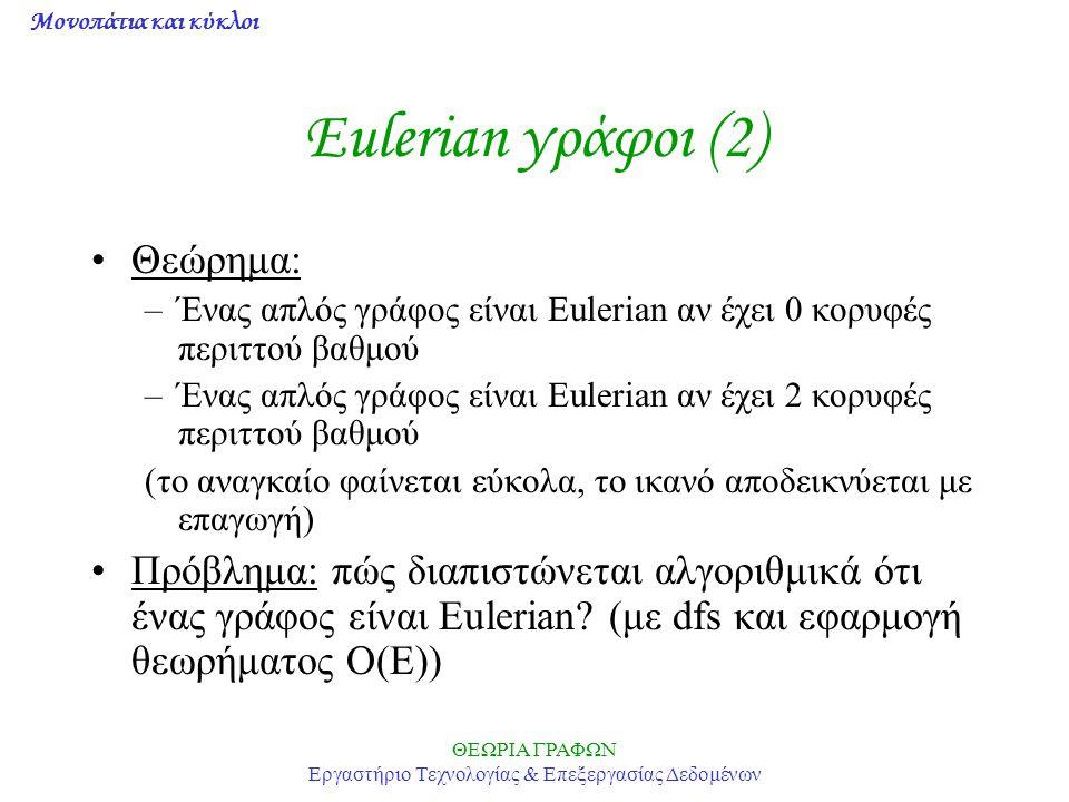Μονοπάτια και κύκλοι ΘΕΩΡΙΑ ΓΡΑΦΩΝ Εργαστήριο Τεχνολογίας & Επεξεργασίας Δεδομένων Eulerian γράφοι (2) Θεώρημα: –Ένας απλός γράφος είναι Eulerian αν έ