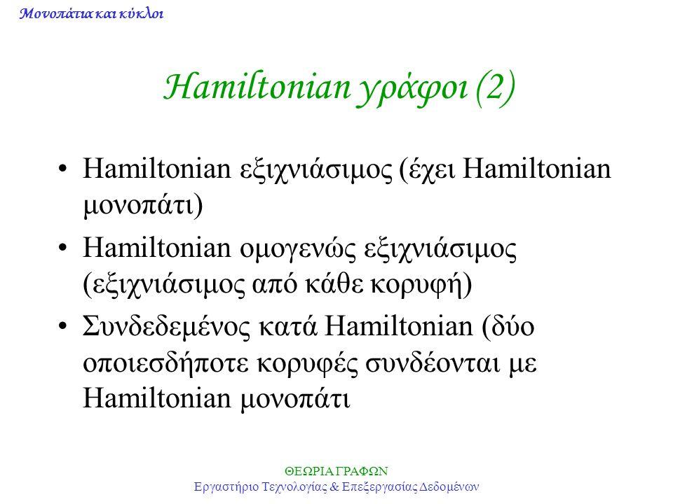 Μονοπάτια και κύκλοι ΘΕΩΡΙΑ ΓΡΑΦΩΝ Εργαστήριο Τεχνολογίας & Επεξεργασίας Δεδομένων Hamiltonian γράφοι (2) Hamiltonian εξιχνιάσιμος (έχει Hamiltonian μ