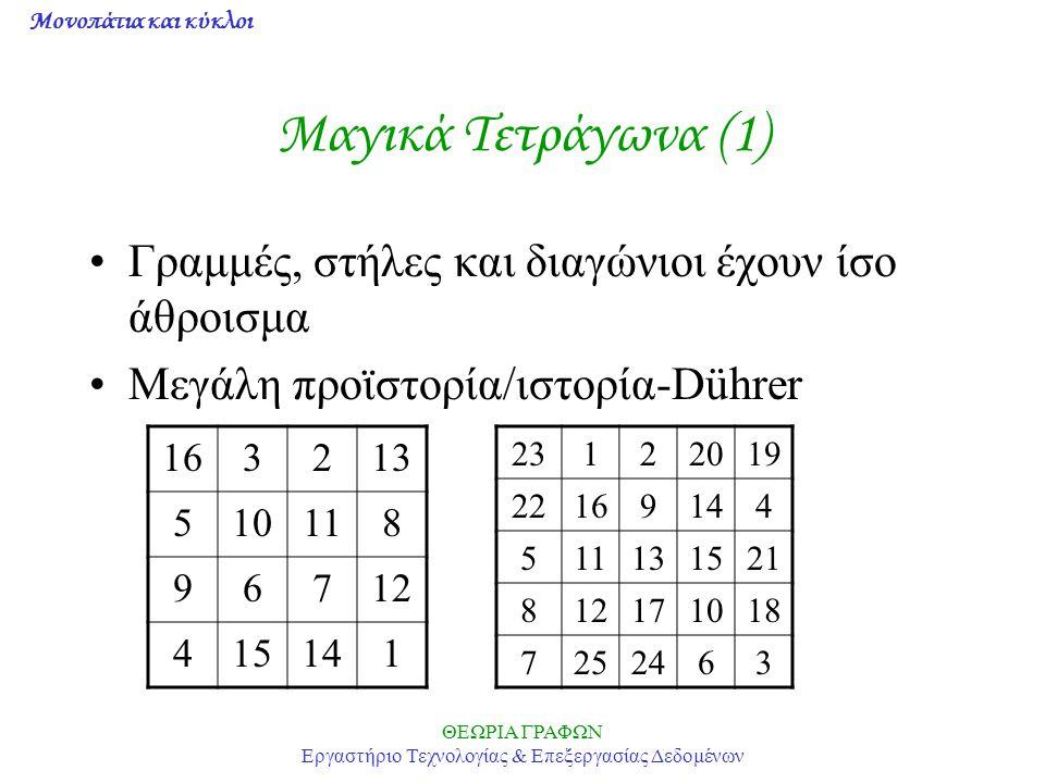 Μονοπάτια και κύκλοι ΘΕΩΡΙΑ ΓΡΑΦΩΝ Εργαστήριο Τεχνολογίας & Επεξεργασίας Δεδομένων Μαγικά Τετράγωνα (1) Γραμμές, στήλες και διαγώνιοι έχουν ίσο άθροισ