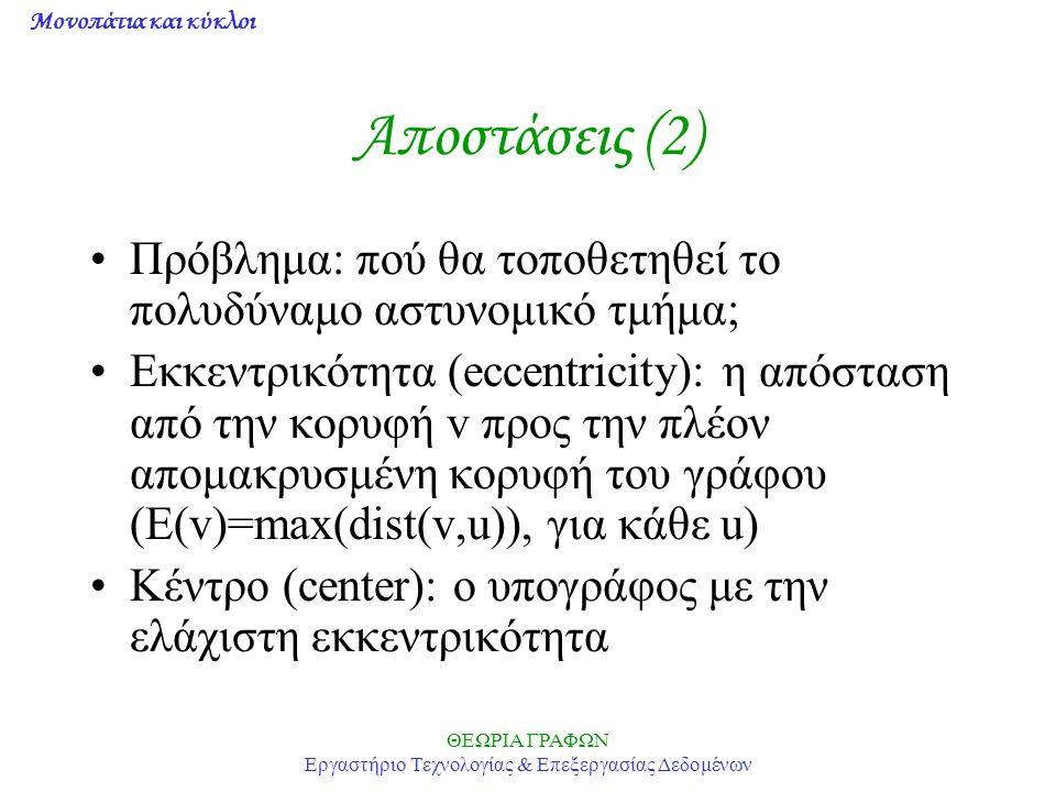 Μονοπάτια και κύκλοι ΘΕΩΡΙΑ ΓΡΑΦΩΝ Εργαστήριο Τεχνολογίας & Επεξεργασίας Δεδομένων Αποστάσεις (3) Θεώρημα: κάθε γράφος είναι κέντρο ενός συνδεδεμένου γράφου Ακτίνα: η εκκεντρικότητα των κορυφών του κέντρου (rad(G)=min(E(v))) Διάμετρος: η μέγιστη απόσταση μεταξύ δύο κορυφών (diam(G)=max(E(v))) Ποια η διάμετρος των K n, W n, C n, K m,n .
