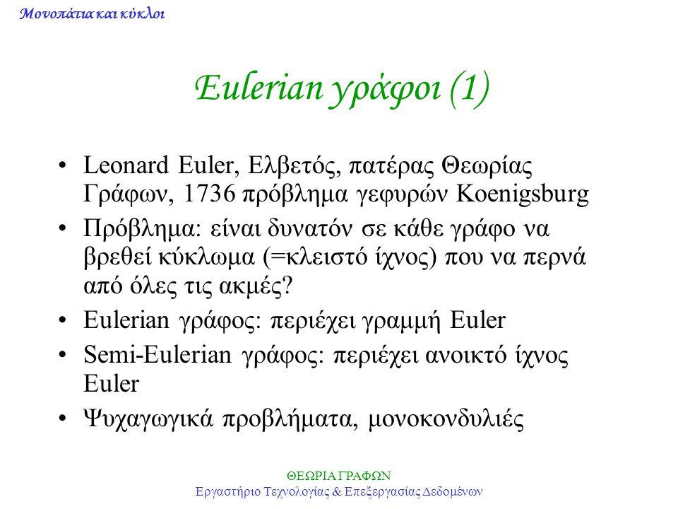 Μονοπάτια και κύκλοι ΘΕΩΡΙΑ ΓΡΑΦΩΝ Εργαστήριο Τεχνολογίας & Επεξεργασίας Δεδομένων Eulerian γράφοι (2) Θεώρημα: –Ένας απλός γράφος είναι Eulerian αν έχει 0 κορυφές περιττού βαθμού –Ένας απλός γράφος είναι Eulerian αν έχει 2 κορυφές περιττού βαθμού (το αναγκαίο φαίνεται εύκολα, το ικανό αποδεικνύεται με επαγωγή) Πρόβλημα: πώς διαπιστώνεται αλγοριθμικά ότι ένας γράφος είναι Eulerian.