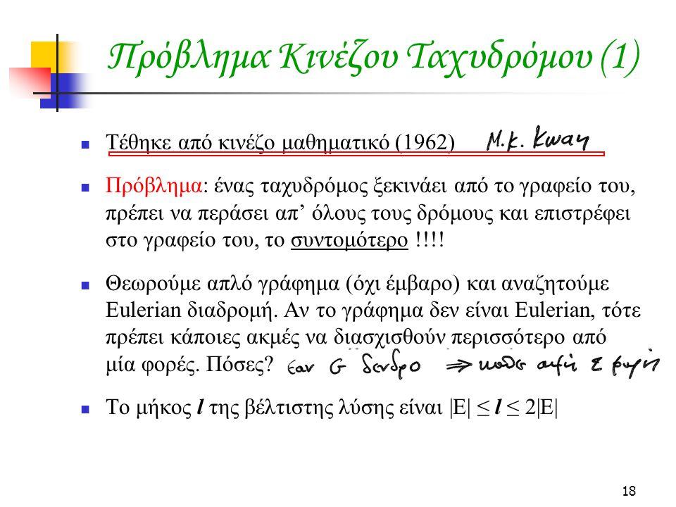 18 Πρόβλημα Κινέζου Ταχυδρόμου (1) Τέθηκε από κινέζο μαθηματικό (1962) Πρόβλημα: ένας ταχυδρόμος ξεκινάει από το γραφείο του, πρέπει να περάσει απ' όλους τους δρόμους και επιστρέφει στο γραφείο του, το συντομότερο !!!.
