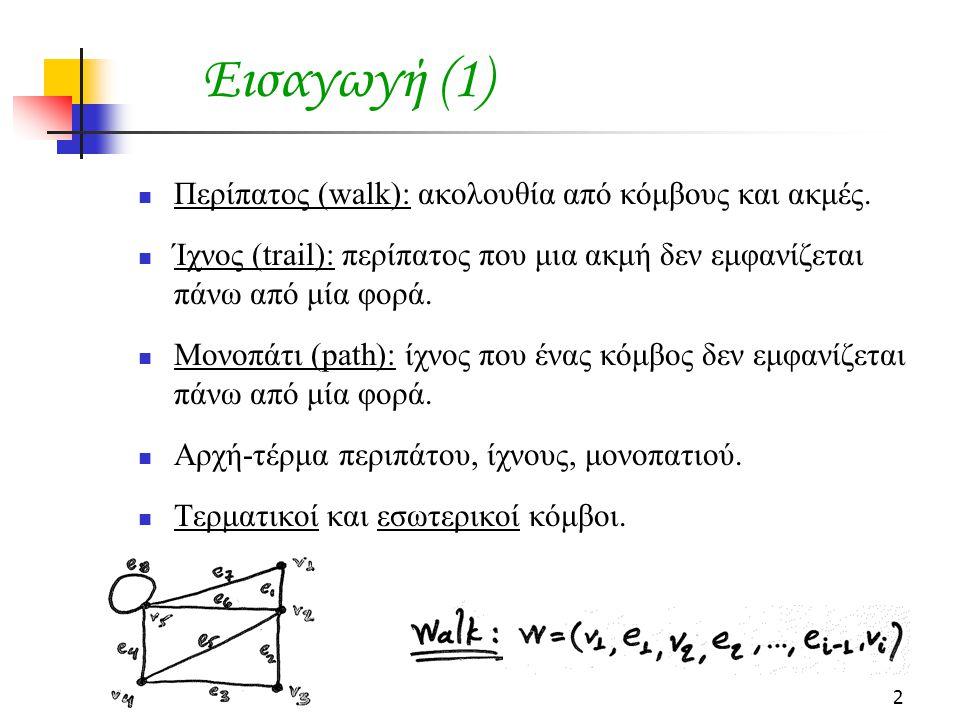 2 Εισαγωγή (1) Περίπατος (walk): ακολουθία από κόμβους και ακμές.