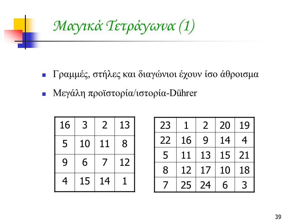 39 Μαγικά Τετράγωνα (1) Γραμμές, στήλες και διαγώνιοι έχουν ίσο άθροισμα Μεγάλη προϊστορία/ιστορία-Dührer 163213 510118 96712 415141 23122019 22169144 511131521 812171018 7252463