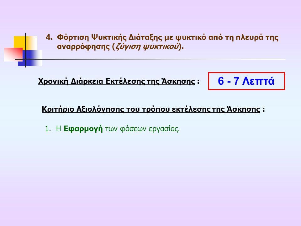 Χρονική Διάρκεια Εκτέλεσης της Άσκησης : Κριτήριο Αξιολόγησης του τρόπου εκτέλεσης της Άσκησης : 1.Η Εφαρμογή των φάσεων εργασίας. 6 - 7 Λεπτά 4.Φόρτι