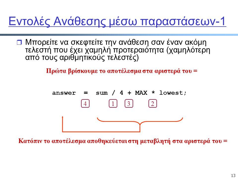 13 Εντολές Ανάθεσης μέσω παραστάσεων-1 r Μπορείτε να σκεφτείτε την ανάθεση σαν έναν ακόμη τελεστή που έχει χαμηλή προτεραιότητα (χαμηλότερη από τους α