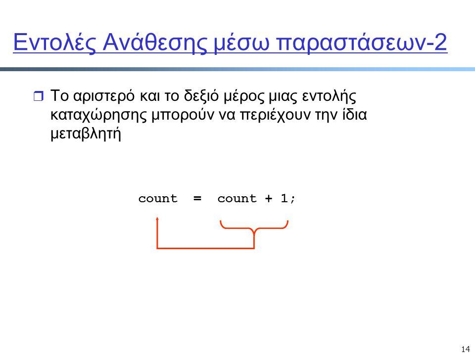 14 Εντολές Ανάθεσης μέσω παραστάσεων-2 r Το αριστερό και το δεξιό μέρος μιας εντολής καταχώρησης μπορούν να περιέχουν την ίδια μεταβλητή count = count
