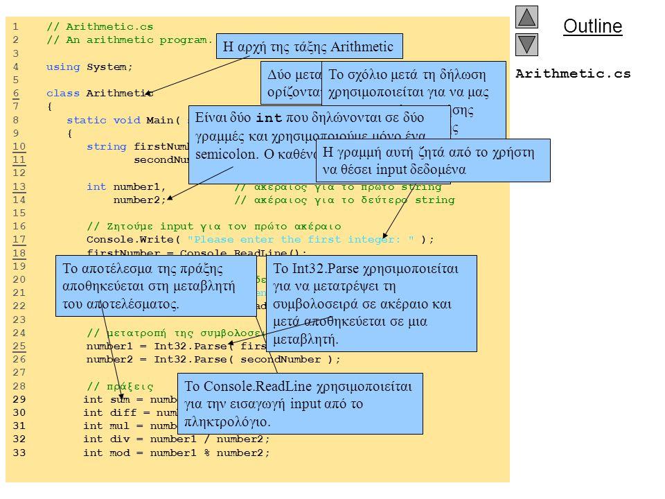 Outline Arithmetic.cs 32 // display results 33 Console.WriteLine( \n{0} + {1} = {2}. , number1, number2, sum ); 34 Console.WriteLine( \n{0} – {1} = {2}. , number1, number2, diff ); 35 Console.WriteLine( \n{0} * {1} = {2}. , number1, number2, mul ); 36 Console.WriteLine( \n{0} / {2} = {2}. , number1, number2, div ); 37 Console.WriteLine( \n{0} % {1} = {2}. , number1, number2, mod ); 34 35 } // τέλος μεθόδου 36 37 } // τέλος της τάξης Arithmetic Εμφάνιση της τιμής μιας μεταβλητής μετά το text