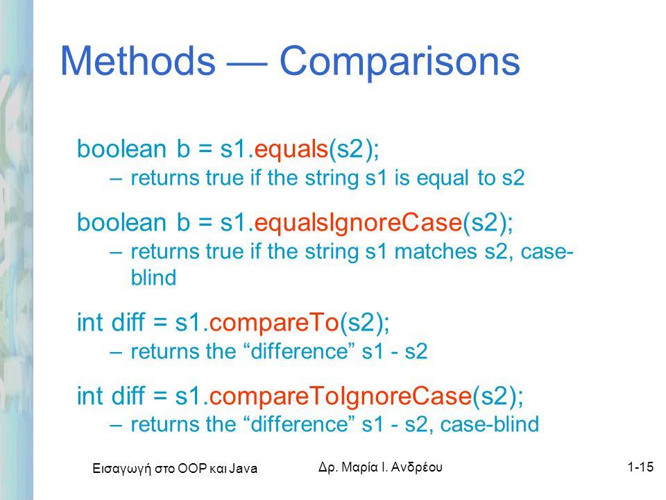 Εισαγωγή στο ΟΟΡ και Java Δρ. Μαρία Ι. Ανδρέου1-15 Methods — Comparisons boolean b = s1.equals(s2); –returns true if the string s1 is equal to s2 bool