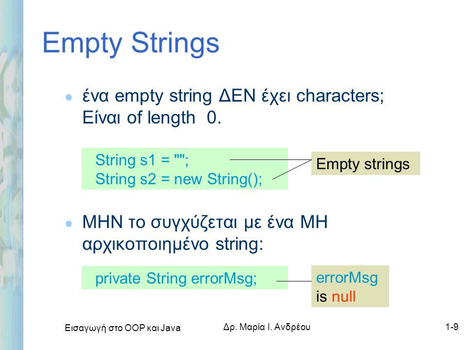 Εισαγωγή στο ΟΟΡ και Java Δρ. Μαρία Ι. Ανδρέου1-9 Empty Strings l ένα empty string ΔΕΝ έχει characters; Είναι of length 0. l ΜΗΝ το συγχύζεται με ένα