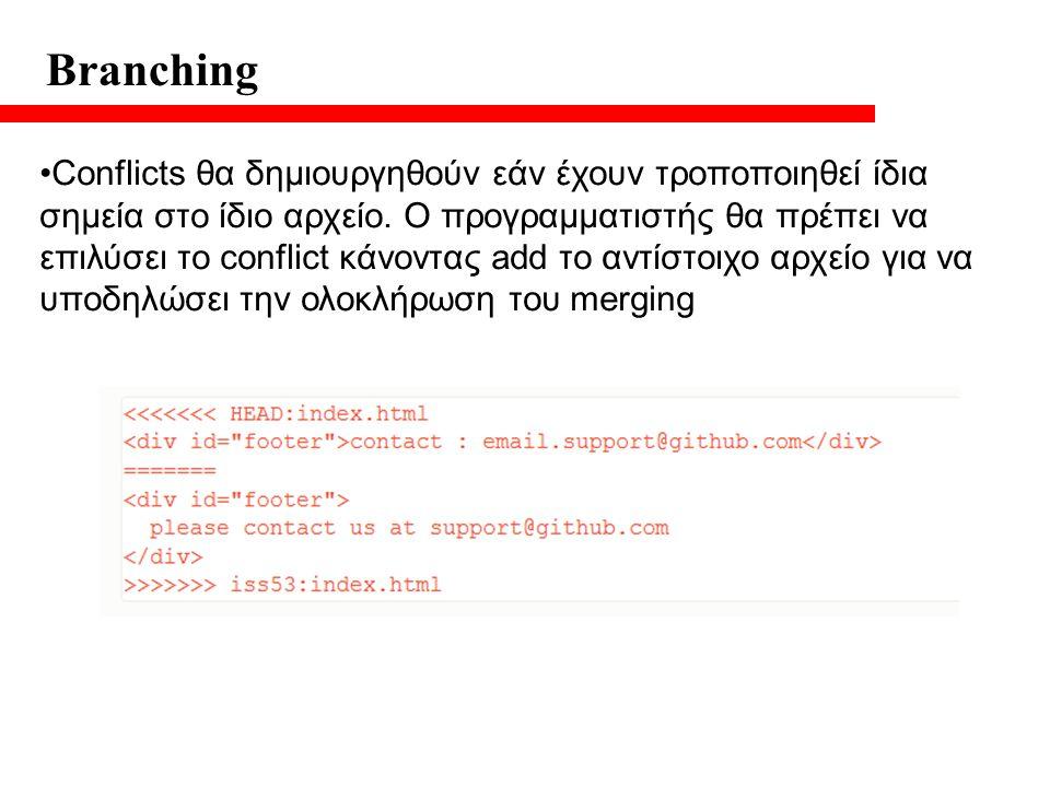 Branching Conflicts θα δημιουργηθούν εάν έχουν τροποποιηθεί ίδια σημεία στο ίδιο αρχείο.