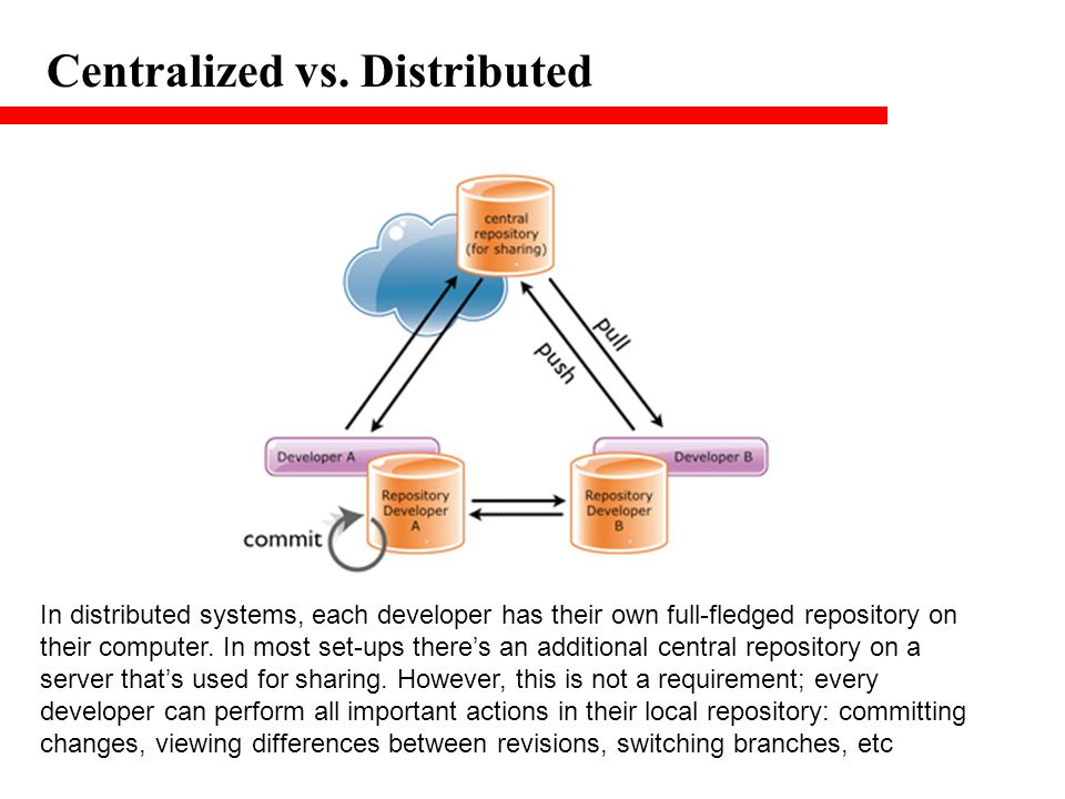 Centralized vs. Distributed In distributed systems, each developer has their own full-fledged repository on their computer. In most set-ups there's an