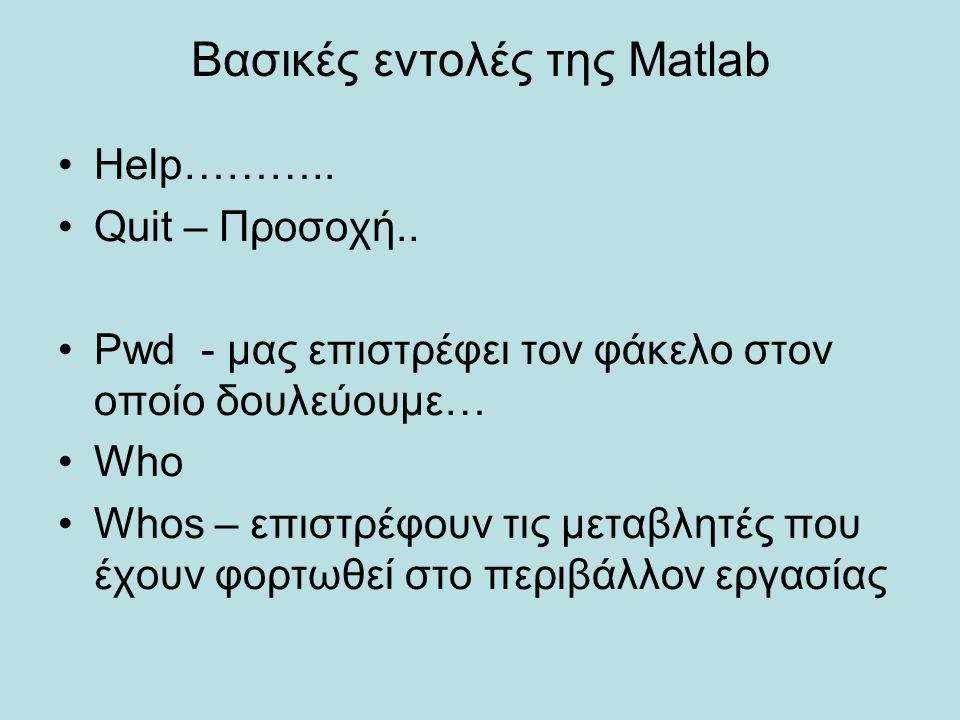 Βασικές εντολές της Matlab Help……….. Quit – Προσοχή.. Pwd - μας επιστρέφει τον φάκελο στον οποίο δουλεύουμε… Who Whos – επιστρέφουν τις μεταβλητές που