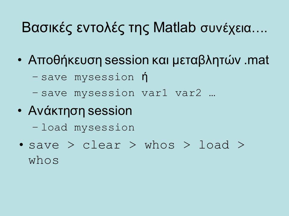 Βασικές εντολές της Matlab συνέχεια…. Αποθήκευση session και μεταβλητών.mat –save mysession ή –save mysession var1 var2 … Ανάκτηση session –load myses