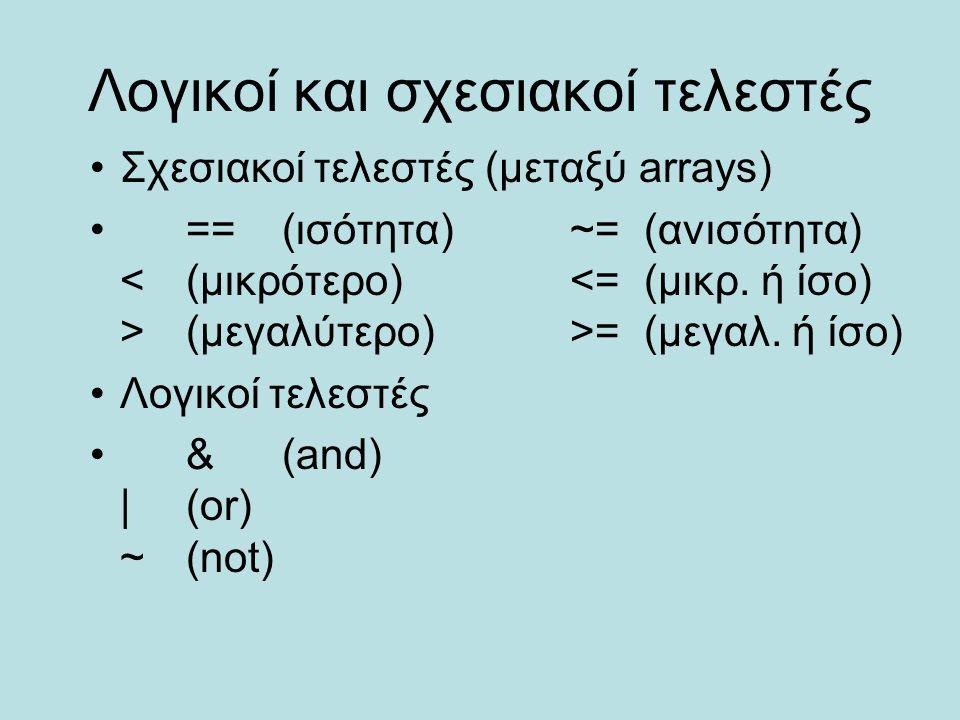 Λογικοί και σχεσιακοί τελεστές Σχεσιακοί τελεστές (μεταξύ arrays) ==(ισότητα)~= (ανισότητα) (μεγαλύτερο)>= (μεγαλ. ή ίσο) Λογικοί τελεστές &(and) |(or
