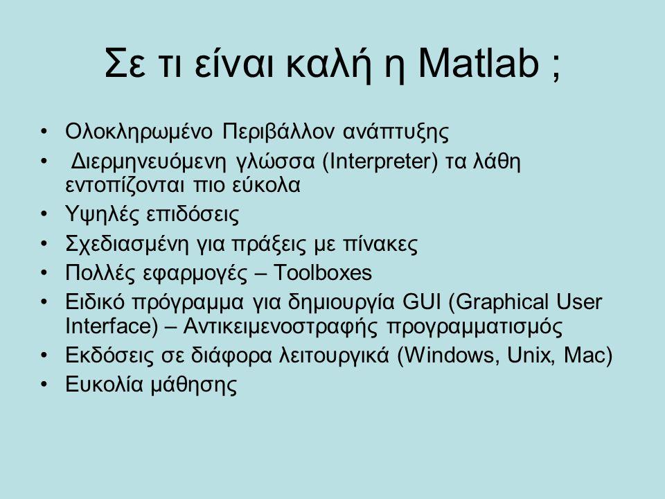 Σε τι είναι καλή η Matlab ; Ολοκληρωμένο Περιβάλλον ανάπτυξης Διερμηνευόμενη γλώσσα (Interpreter) τα λάθη εντοπίζονται πιο εύκολα Υψηλές επιδόσεις Σχε
