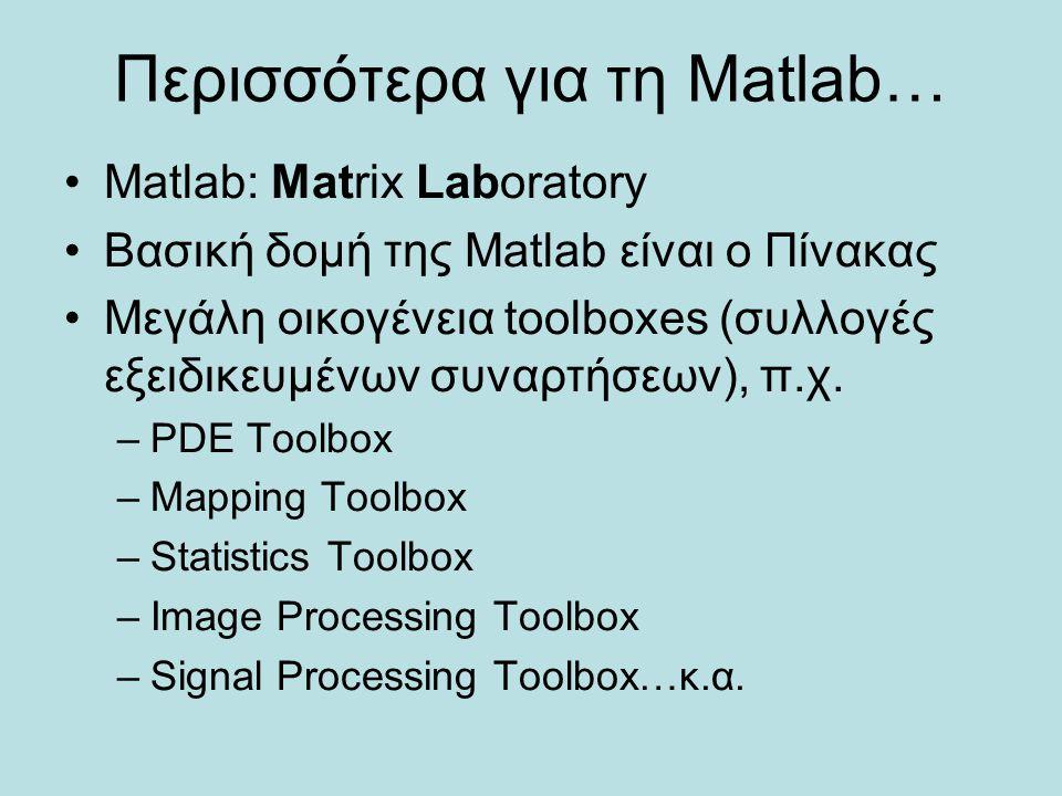 Περισσότερα για τη Matlab… Matlab: Matrix Laboratory Βασική δομή της Matlab είναι ο Πίνακας Μεγάλη οικογένεια toolboxes (συλλογές εξειδικευμένων συναρ