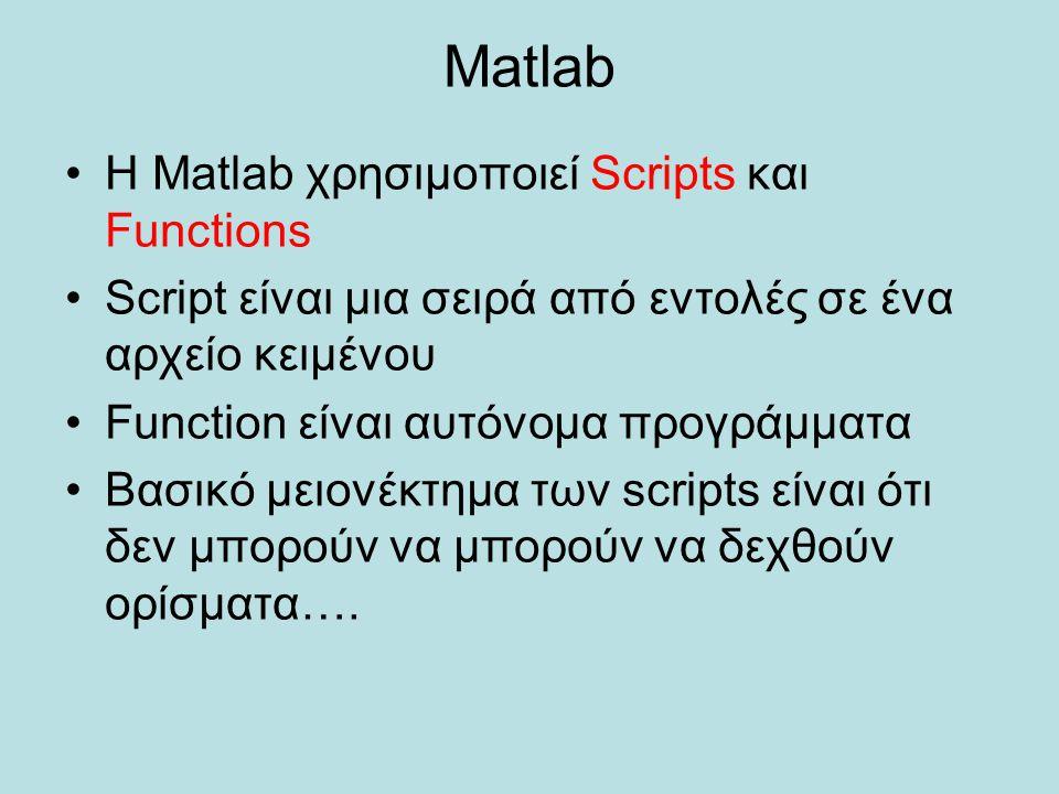 Matlab Η Matlab χρησιμοποιεί Scripts και Functions Script είναι μια σειρά από εντολές σε ένα αρχείο κειμένου Function είναι αυτόνομα προγράμματα Βασικ