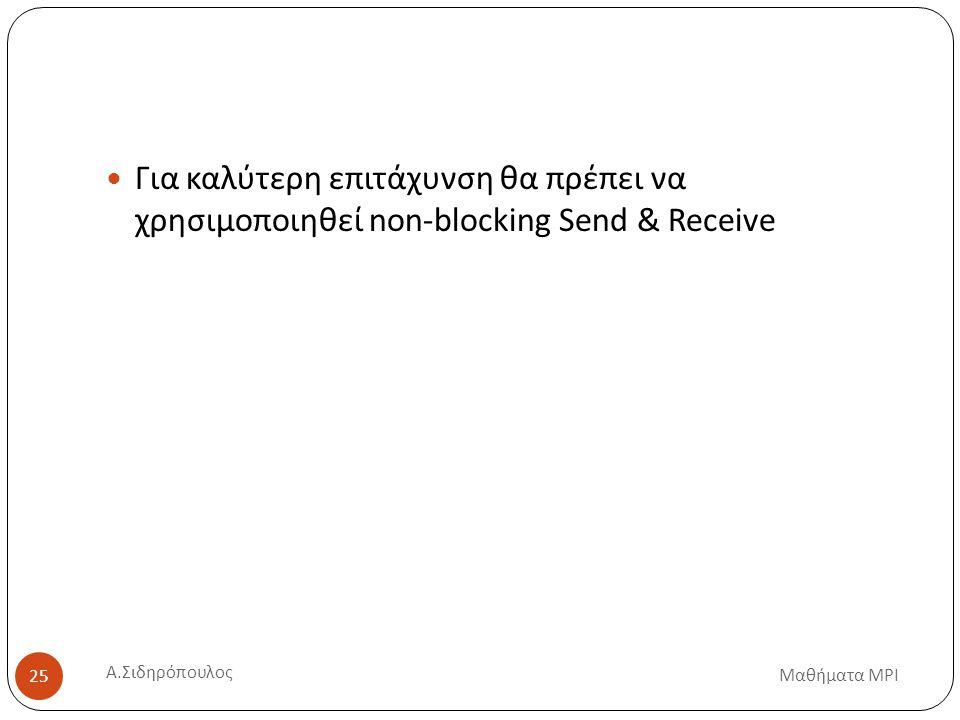 Μαθήματα MPI 25 Για καλύτερη επιτάχυνση θα πρέπει να χρησιμοποιηθεί non-blocking Send & Receive Α.