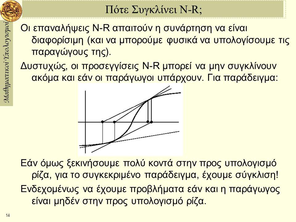 Μαθηματικοί Υπολογισμοί 14 Πότε Συγκλίνει N-R; Οι επαναλήψεις N-R απαιτούν η συνάρτηση να είναι διαφορίσιμη (και να μπορούμε φυσικά να υπολογίσουμε τις παραγώγους της).