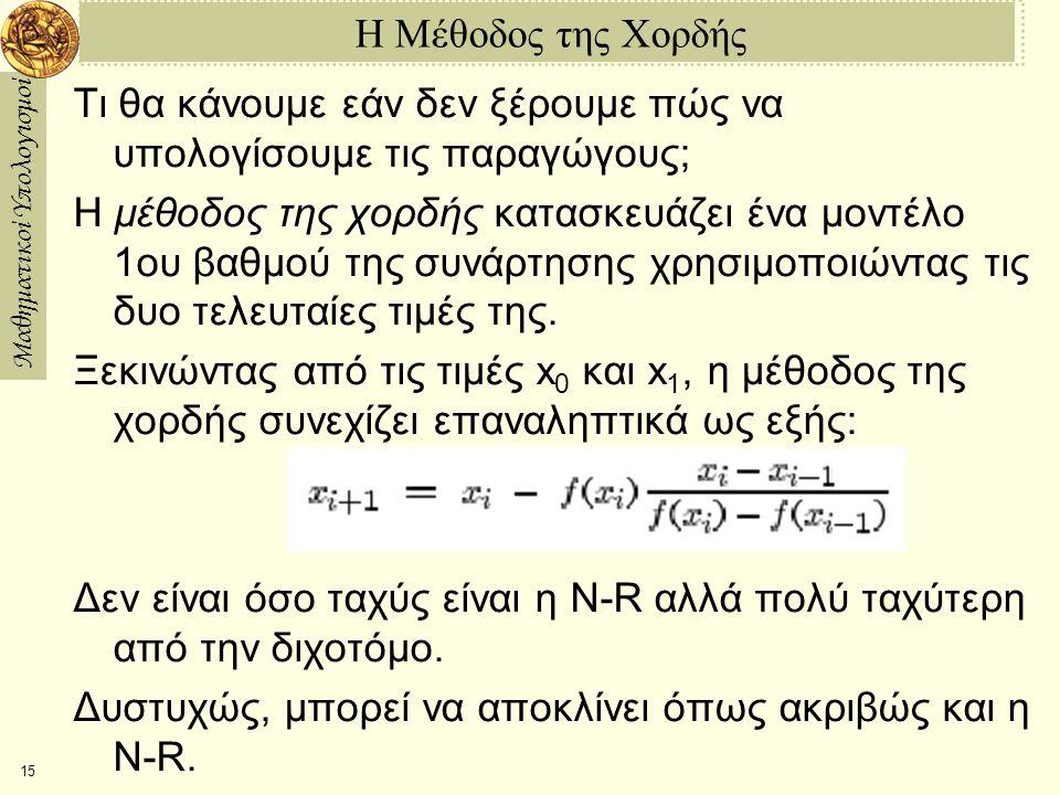 Μαθηματικοί Υπολογισμοί 15 Η Μέθοδος της Χορδής Τι θα κάνουμε εάν δεν ξέρουμε πώς να υπολογίσουμε τις παραγώγους; Η μέθοδος της χορδής κατασκευάζει ένα μοντέλο 1ου βαθμού της συνάρτησης χρησιμοποιώντας τις δυο τελευταίες τιμές της.