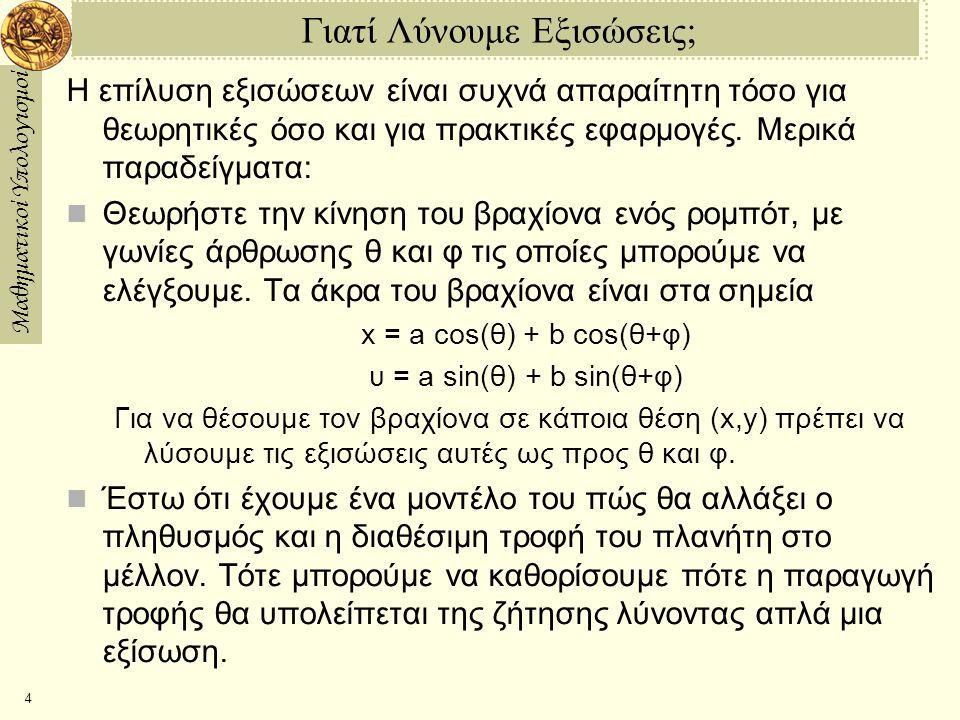 Μαθηματικοί Υπολογισμοί 4 Γιατί Λύνουμε Εξισώσεις; Η επίλυση εξισώσεων είναι συχνά απαραίτητη τόσο για θεωρητικές όσο και για πρακτικές εφαρμογές.