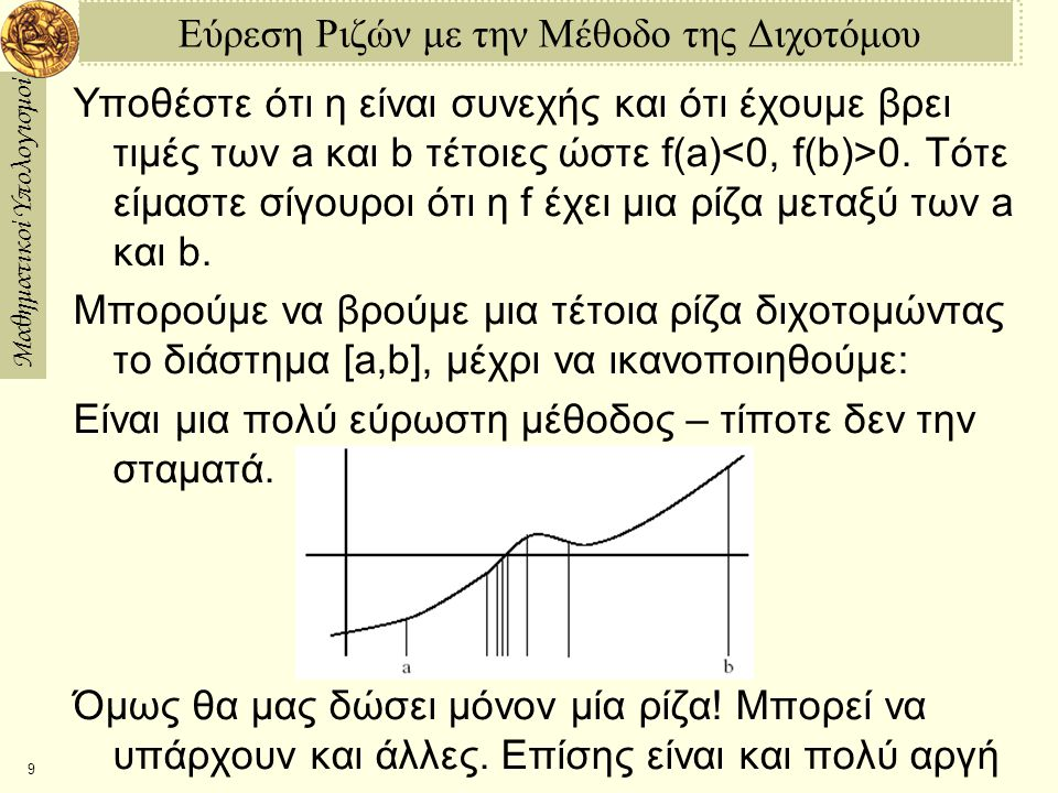 Μαθηματικοί Υπολογισμοί 9 Εύρεση Ριζών με την Μέθοδο της Διχοτόμου Υποθέστε ότι η είναι συνεχής και ότι έχουμε βρει τιμές των a και b τέτοιες ώστε f(a) 0.