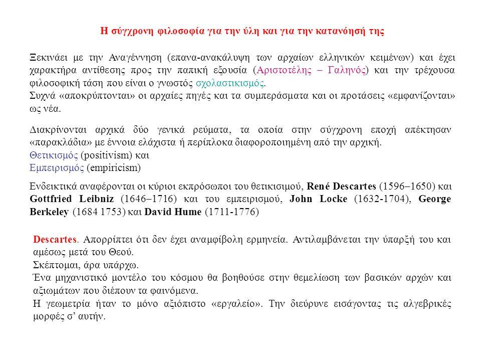 Η σύγχρονη φιλοσοφία για την ύλη και για την κατανόησή της Ξεκινάει με την Αναγέννηση (επανα-ανακάλυψη των αρχαίων ελληνικών κειμένων) και έχει χαρακτ