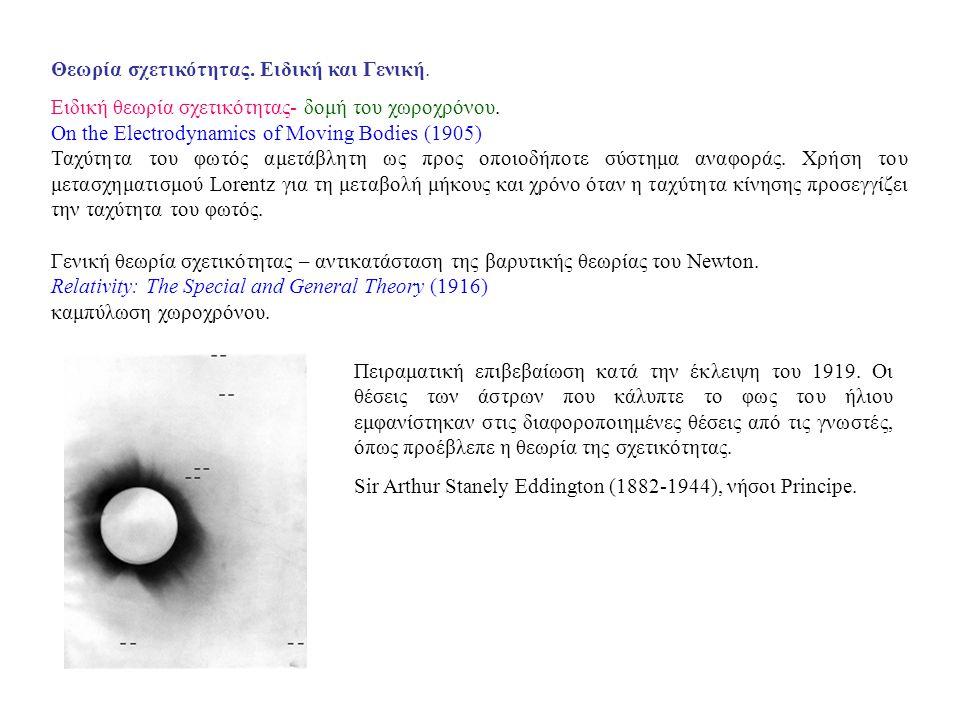 Θεωρία σχετικότητας. Ειδική και Γενική. Ειδική θεωρία σχετικότητας- δομή του χωροχρόνου. On the Electrodynamics of Moving Bodies (1905) Ταχύτητα του φ