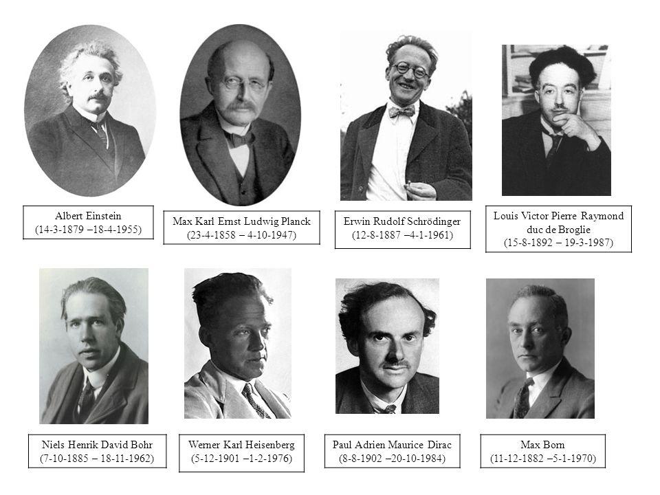 Albert Einstein (14-3-1879 –18-4-1955) Max Karl Ernst Ludwig Planck (23-4-1858 – 4-10-1947) Erwin Rudolf Schrödinger (12-8-1887 –4-1-1961) Niels Henrik David Bohr (7-10-1885 – 18-11-1962) Werner Karl Heisenberg (5-12-1901 –1-2-1976) Paul Adrien Maurice Dirac (8-8-1902 –20-10-1984) Max Born (11-12-1882 –5-1-1970) Louis Victor Pierre Raymond duc de Broglie (15-8-1892 – 19-3-1987)