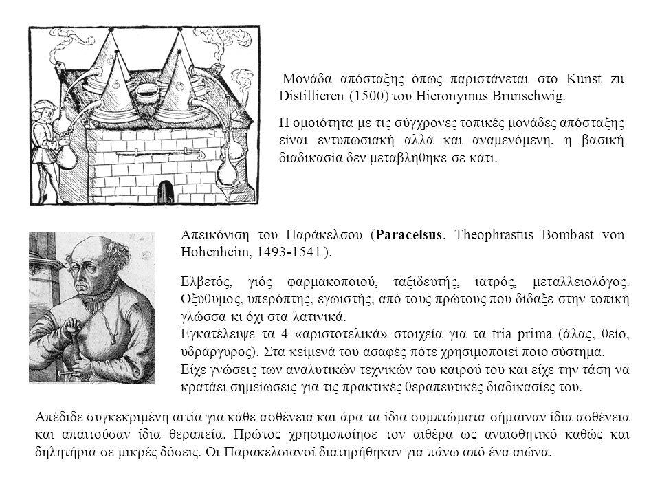 Μονάδα απόσταξης όπως παριστάνεται στο Kunst zu Distillieren (1500) του Hieronymus Brunschwig. Η ομοιότητα με τις σύγχρονες τοπικές μονάδες απόσταξης