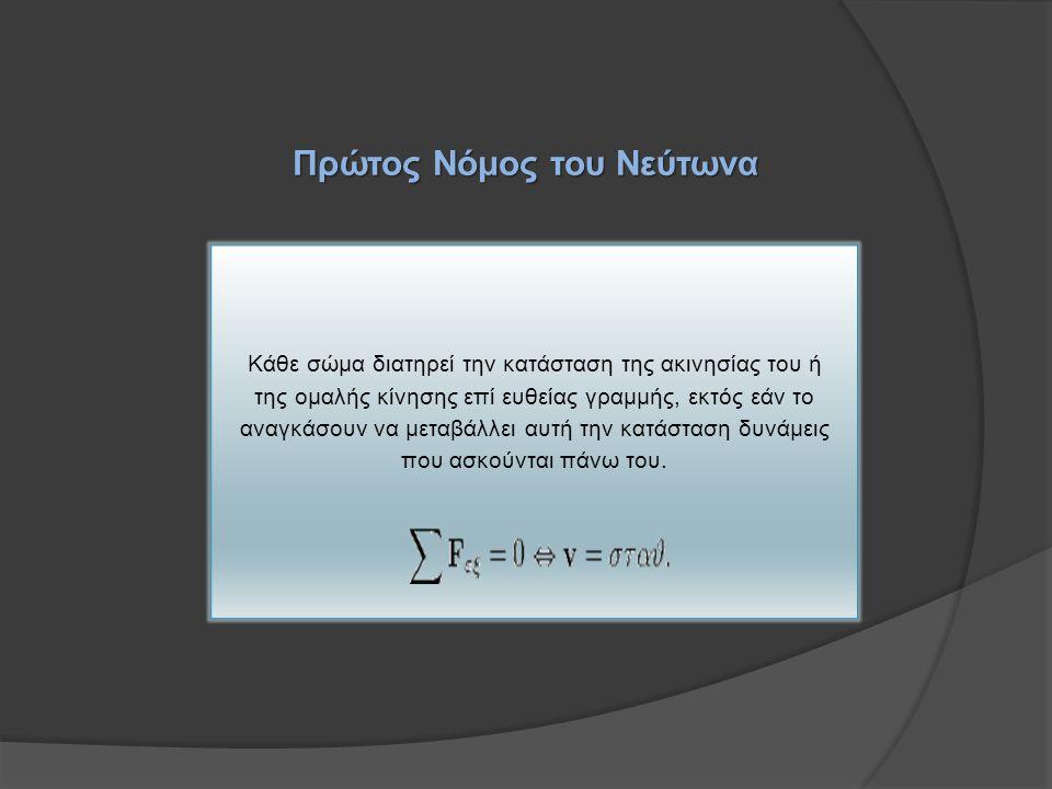 Πρώτος Νόμος του Νεύτωνα Κάθε σώμα διατηρεί την κατάσταση της ακινησίας του ή της ομαλής κίνησης επί ευθείας γραμμής, εκτός εάν το αναγκάσουν να μεταβάλλει αυτή την κατάσταση δυνάμεις που ασκούνται πάνω του.