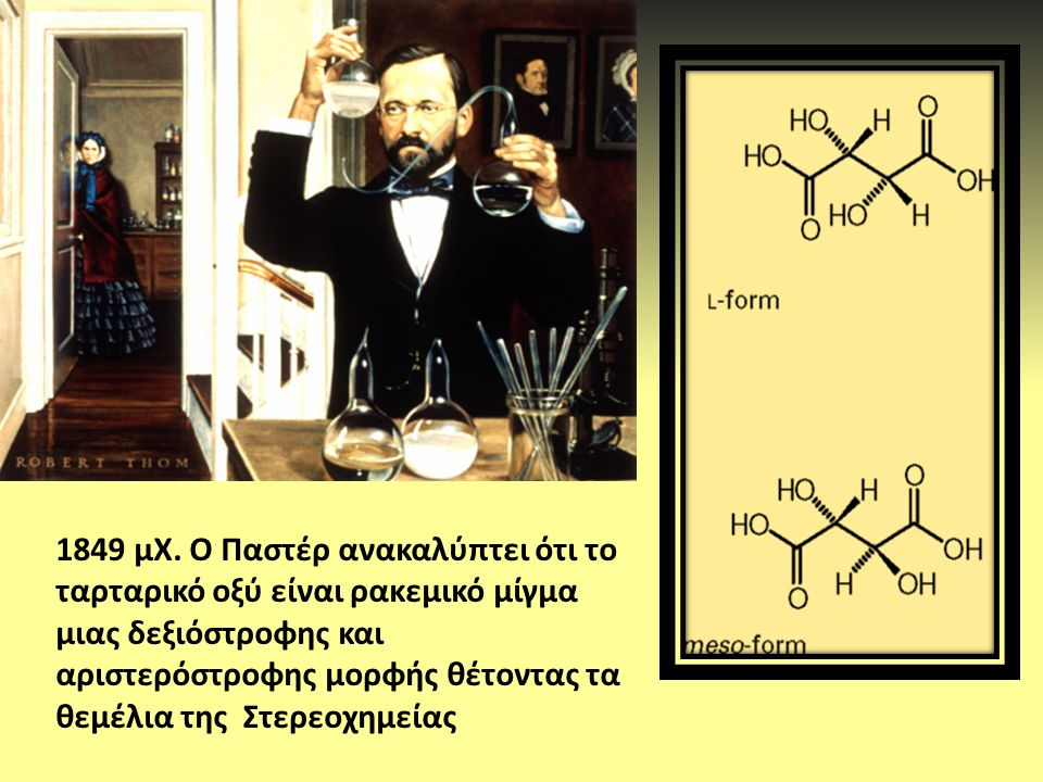1849 μΧ. Ο Παστέρ ανακαλύπτει ότι το ταρταρικό οξύ είναι ρακεμικό μίγμα μιας δεξιόστροφης και αριστερόστροφης μορφής θέτοντας τα θεμέλια της Στερεοχημ