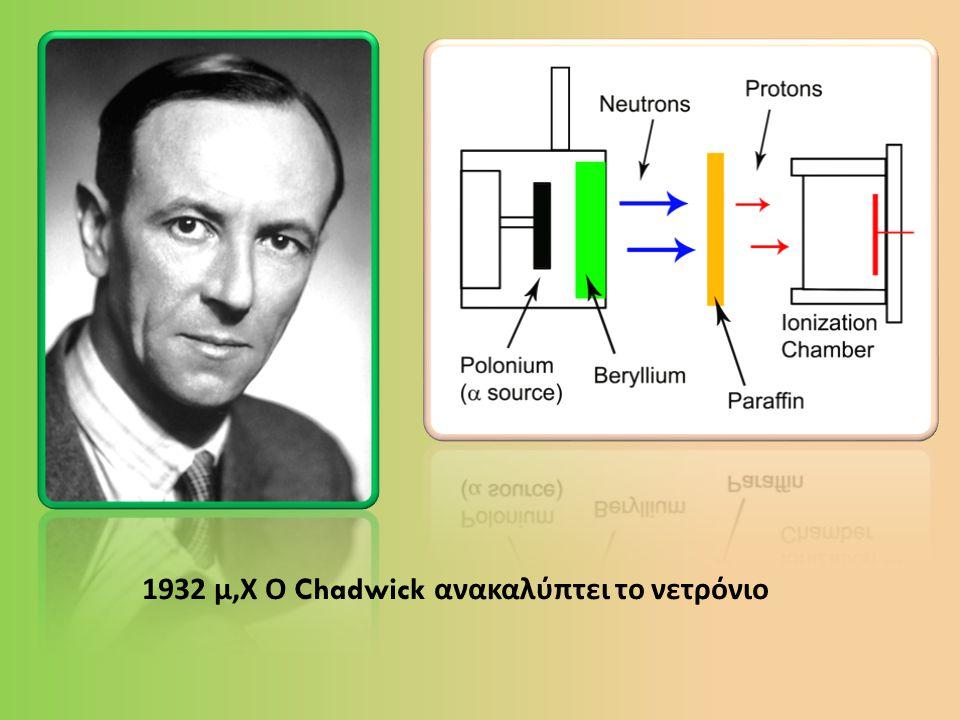 1932 μ, Χ Ο Chadwick ανακαλύπτει το νετρόνιο