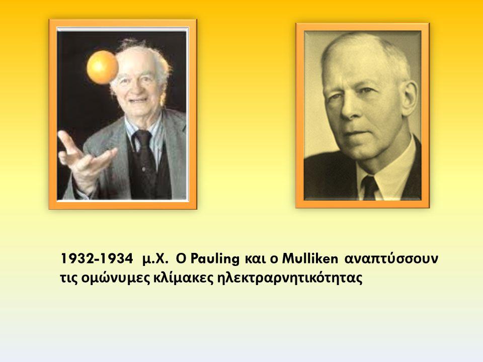 1932-1934 μ. Χ. Ο Pauling και ο Mulliken αναπτύσσουν τις ομώνυμες κλίμακες ηλεκτραρνητικότητας