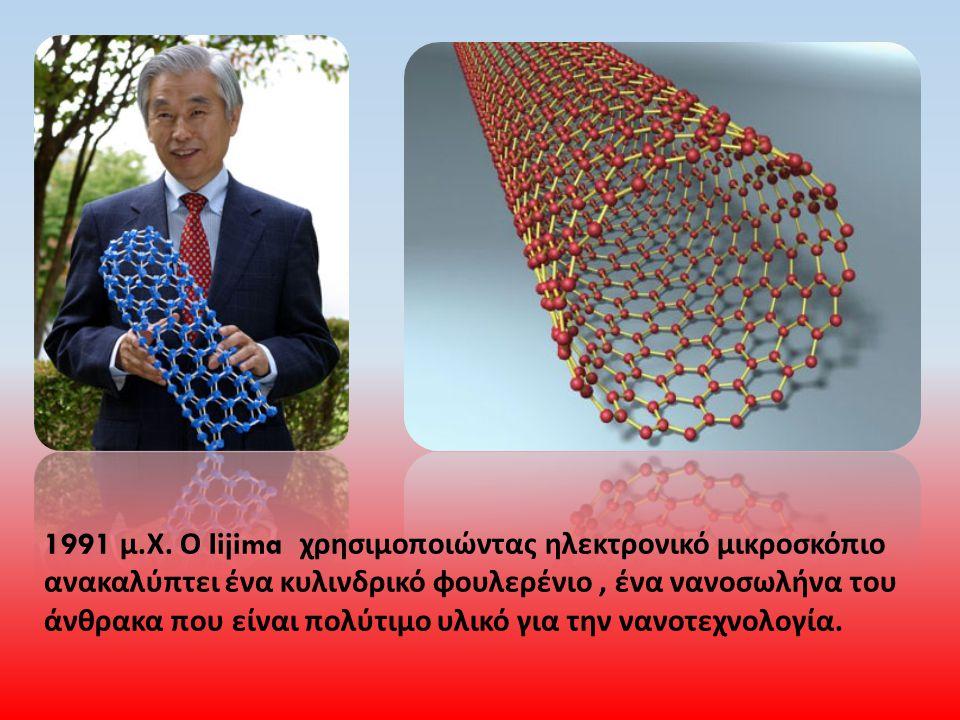 1991 μ. Χ. Ο Iijima χρησιμοποιώντας ηλεκτρονικό μικροσκόπιο ανακαλύπτει ένα κυλινδρικό φουλερένιο, ένα νανοσωλήνα του άνθρακα που είναι πολύτιμο υλικό