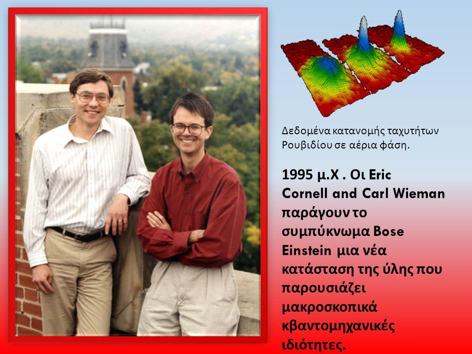 Δεδομένα κατανομής ταχυτήτων Ρουβιδίου σε αέρια φάση. 1995 μ. Χ. Οι Eric Cornell and Carl Wieman παράγουν το συμπύκνωμα Bose Einstein μια νέα κατάστασ