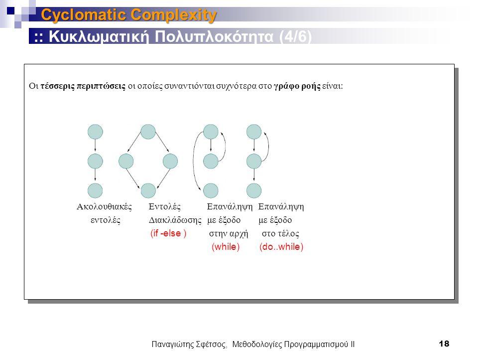 Οι τέσσερις περιπτώσεις οι οποίες συναντιόνται συχνότερα στο γράφο ροής είναι: Ακολουθιακές Εντολές Επανάληψη Επανάληψη εντολές Διακλάδωσης με έξοδο με έξοδο (if -else ) στην αρχή στο τέλος (while) (do..while) Οι τέσσερις περιπτώσεις οι οποίες συναντιόνται συχνότερα στο γράφο ροής είναι: Ακολουθιακές Εντολές Επανάληψη Επανάληψη εντολές Διακλάδωσης με έξοδο με έξοδο (if -else ) στην αρχή στο τέλος (while) (do..while) Παναγιώτης Σφέτσος, Μεθοδολογίες Προγραμματισμού ΙΙ 18 Cyclomatic Complexity :: Κυκλωματική Πολυπλοκότητα (4/6)